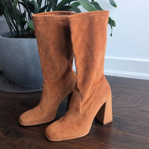 Zara corduroy mid-calf boots